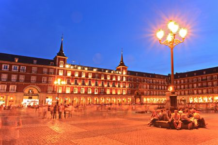 Plaza Mayor square, Madrid, Spain, by night Stock Photo