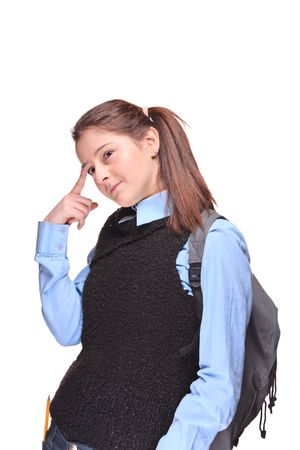 Pensive female teenage student isolated against white background photo