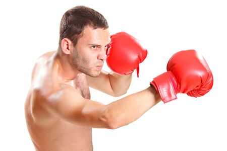 Boxer in action isolated on white background photo