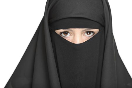 modest: A veiled woman isolated on a white background Stock Photo