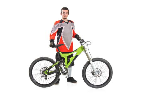 Person with a mountain bike isolated against white background Stock Photo - 5843816