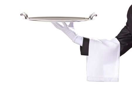 serving tray: Waiter isolated on white