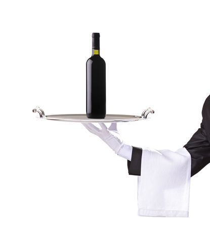 silver tray: Waiter holding a silver tray with a red wine on it