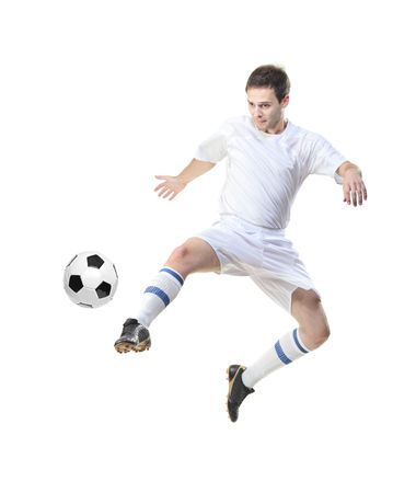 plimsoll: Football player with ball isolated against white background
