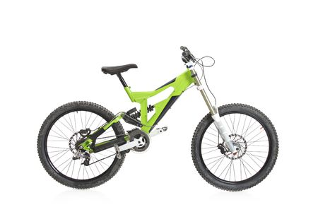 mountain bicycle: Una vista di una moto gialla isolata on white background