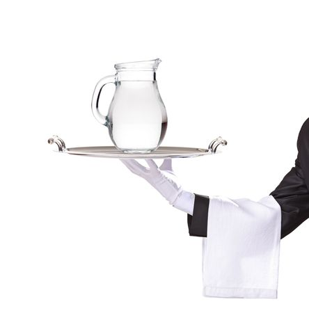 serving tray: Waiter holding a silver tray with a water pitcher on it