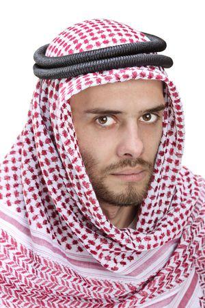homme arabe: Portrait d'un jeune homme portant un turban arabe Banque d'images