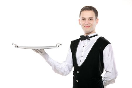 hospitality staff: A butler holding an empty silver tray isolated on white background Stock Photo