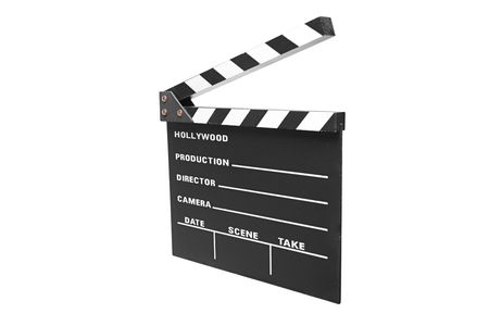 Open movie clap isolated against white background photo