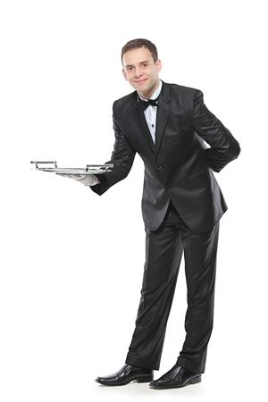 uniform attire: Young person holding a tray isolated on white background