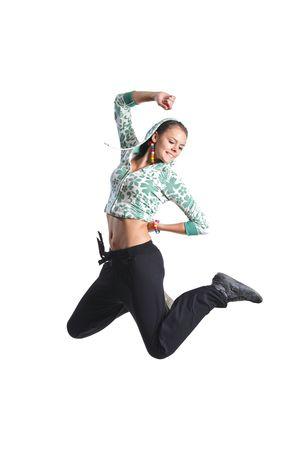 persona saltando: Atractiva chica saltar en el aire aislado sobre fondo blanco Foto de archivo