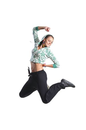 jumper: Attractive girl jumping in the air isolated on white background