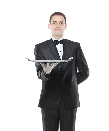trencher: Young person holding a tray Stock Photo