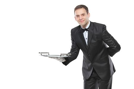 waiter serving: Young person holding a tray isolated on white background