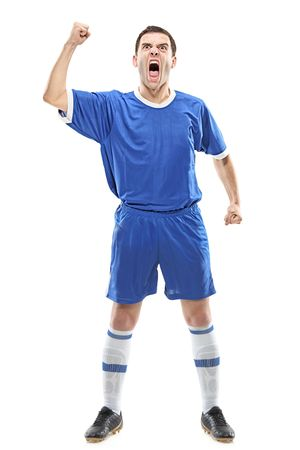 plimsoll: Soccer player standing and screaming isolated against white background