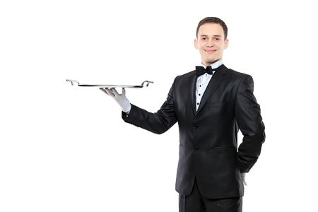 concierge: Young person holding a tray isolated on white background