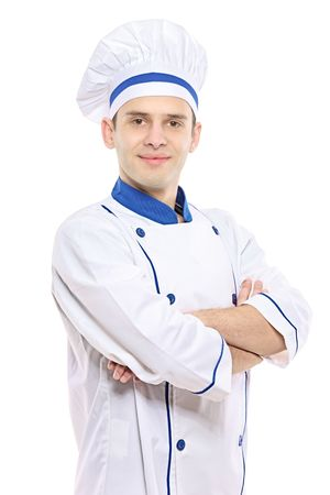 culinary skills: Portrait of chef isolated over white background