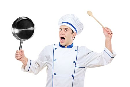 Stunned chef holding kitchen utensil isolated on white background Stock Photo - 6413658