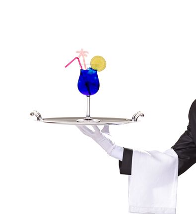 A butler holding a silver tray with cocktail on it isolated on white photo
