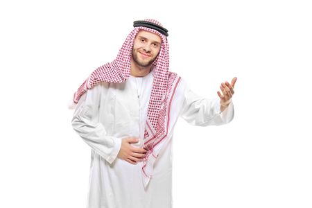 arab men: An arab person welcoming isolated on white background Stock Photo