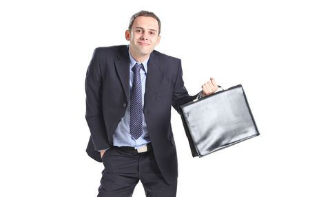 Nerdy businessman isolated against white background Stock Photo - 6489686