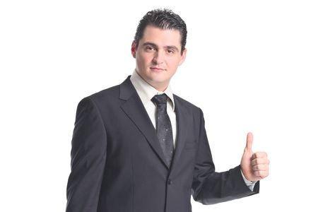 Businessman with thumbs up isolated on white background photo