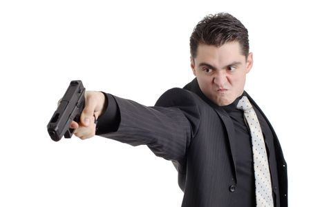 gangster background: Angry person with a gun isolated on white background