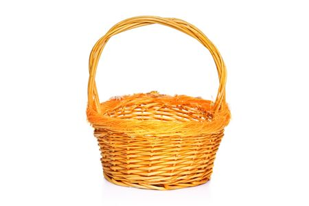 Yellow basket isolated on white background photo