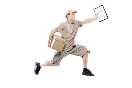Postman on a hurry delivering package isolated on white photo