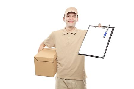 A delivery man bringing a package and holding out a clipboard photo