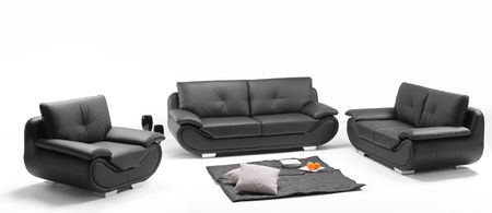 furnish: A view of a room with black leather sofa
