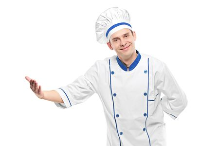 facial gestures: A chef welcoming isolated on white