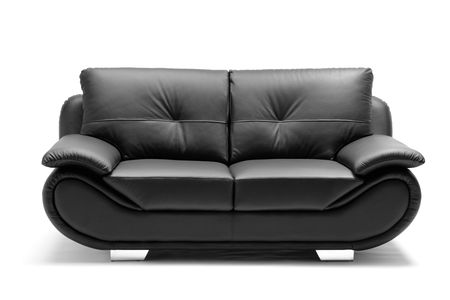 A View Of A Modern Leather Sofa Isolated On White Background Stock Photo    6625409