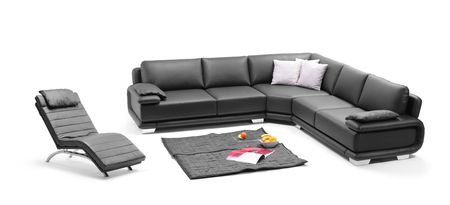 A view of a room with black leather sofa and relaxing chair Stock Photo - 6625451