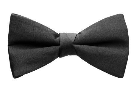 tie bow: Un cravattino nero isolato su sfondo bianco
