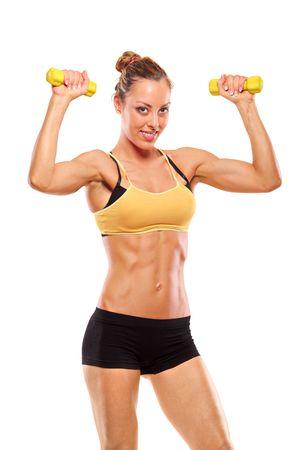 silhouette femme: Jeune femme attrayante avec des poids isol� sur fond blanc Banque d'images