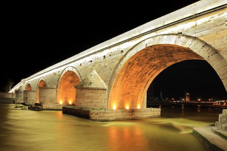 macedonia: A view of a famous Stone bridge in Skopje, Macedonia, at night