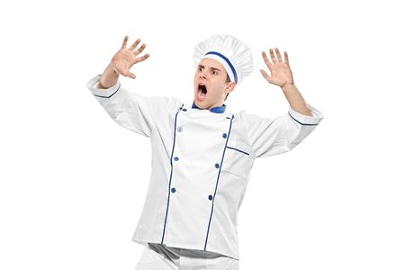 stunned: Stunned chef isolated on white background