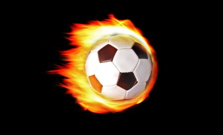 Soccerball on fire isolated on black background