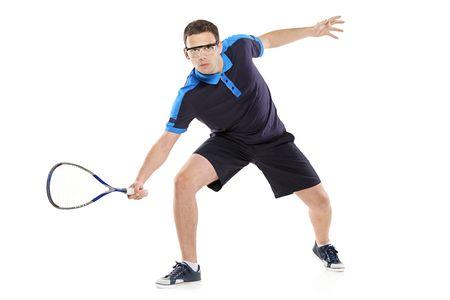 squash: Squash player isolated on white background