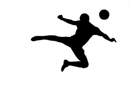 A silhouette of a soccer player with a ball isolated on white background photo