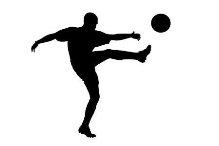 plimsoll: A silhouette of a soccer player shooting a ball isolated on white background