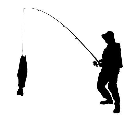 pescador: Una silueta de un pescador con un pez aislado sobre fondo blanco Foto de archivo