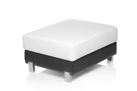 footstool: A view of a footstool isolated against white background