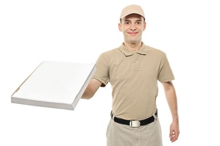 packets: A delivery boy bringing a cardboard pizza box Stock Photo