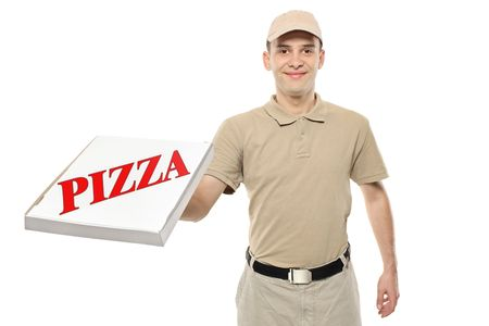 pizza delivery: A delivery boy bringing a cardboard pizza box isolated on white background