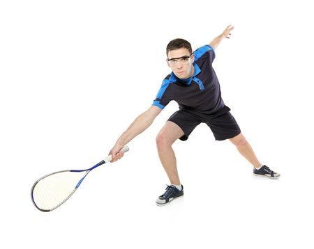 sportman: A squash player isolated on white background Stock Photo