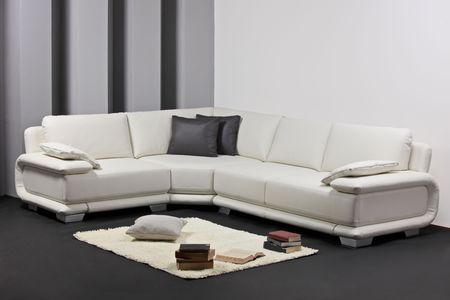 A view of a modern leather sofa photo