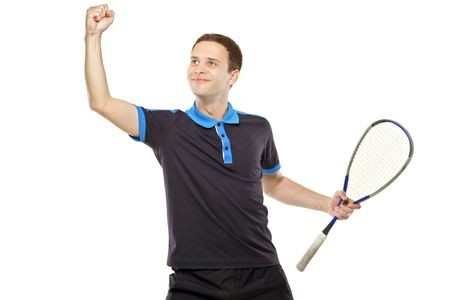 sportsmen: A happy squash player celebrating a score isolated on white background