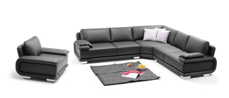 A view of a room with black leather sofa  photo